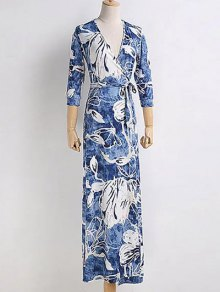 Chinese Floral Painting Wrap Dress