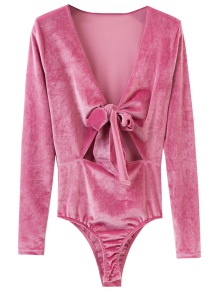 Front Knot Low Cut Velvet Bodysuit - Deep Pink