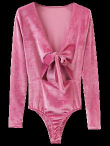 Front Knot Low Cut Velvet Bodysuit