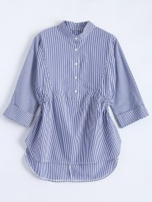 Half Button Stripes Blouse