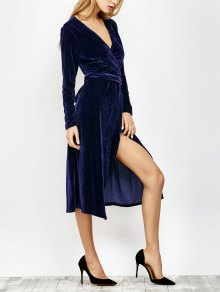 V Neck Slit Velvet Wrap Midi Dress - Deep Blue S