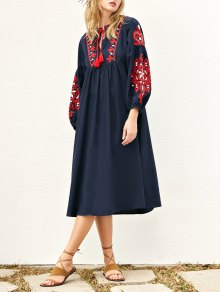 Lantern Sleeve Embroidered Smock Dress - Purplish Blue S