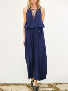 Layered Lace Up Palazzo Jumpsuit - Cadetblue