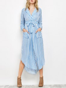 Striped Slit Maxi Dress With Pockets - Blue