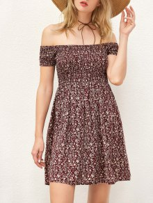 Tiny Floral Print Off The Shoulder Dress - Wine Red