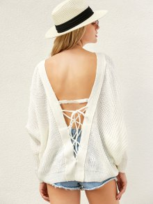 Back Lace Up Loose Fitting V Neck Sweater - White