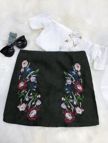 Embroidered Mini Faux Suede Skirt