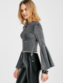 Sparkly and Glitter Bell Sleeve Keyhole Top