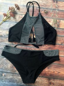 Stripe High Neck Cutout Bikini