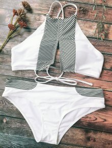 Stripe High Neck Cutout Bikini - White