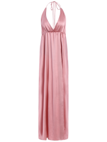 Strappy Sateen Maxi Evening Dress