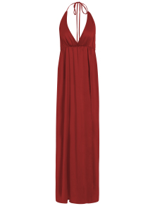 Strappy Sateen Maxi Evening Dress - Red S