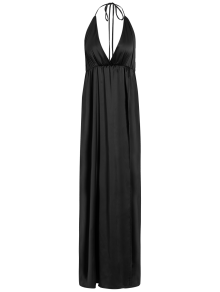 Strappy Sateen Maxi Evening Dress - Black M