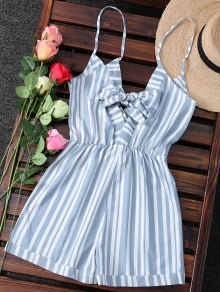 Striped Spaghetti Strap Back Knotted Romper