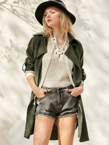 Buttoned Waterfall Trench Coat - Army Green S