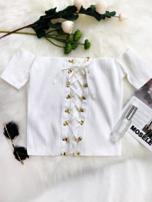Lace Up Off The Shoulder Cropped Top