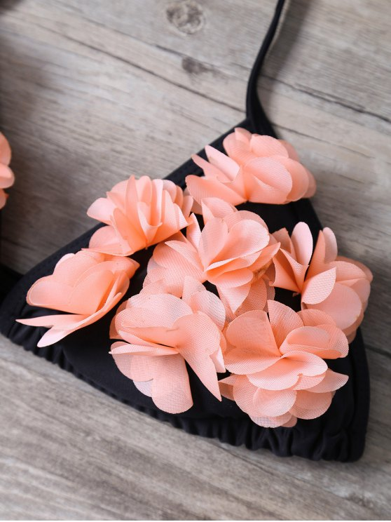 Halter Stereo Flower Bikini Cute Bathing Suit - BLACK M Mobile
