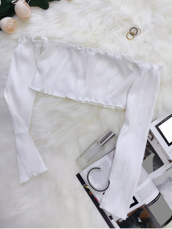 Frilled Off The Shoulder Crop Top - WHITE ONE SIZE Mobile