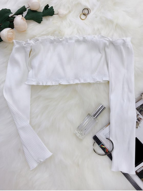 best Frilled Off The Shoulder Crop Top - WHITE ONE SIZE