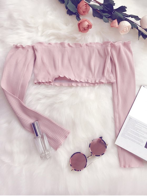 Frilled Off The Shoulder Crop Top - PINK ONE SIZE Mobile