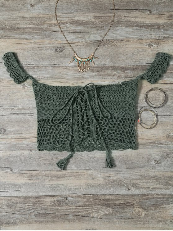 affordable Knitted Off The Shoulder Bikini Bra - GREEN ONE SIZE
