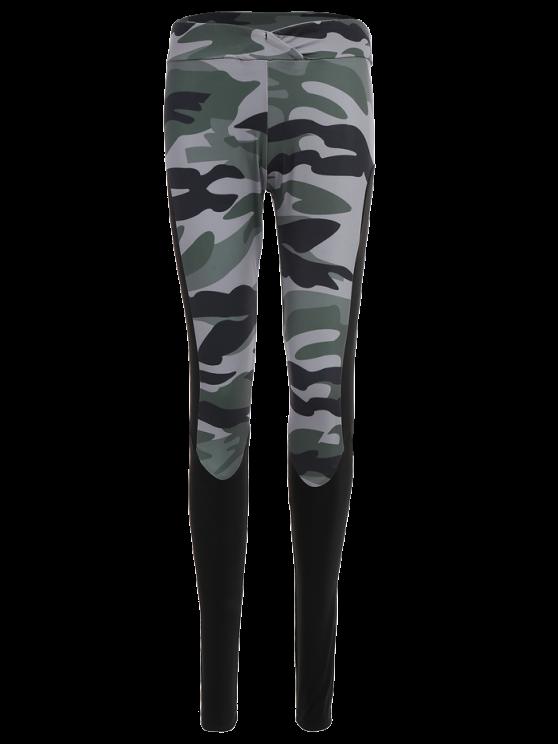 Camo Print Insert Gym Leggings - CAMOUFLAGE M Mobile