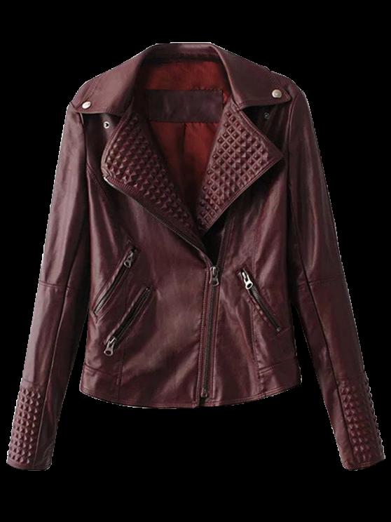 online Zippered Lapel Collar Biker Jacket - DARK RED L