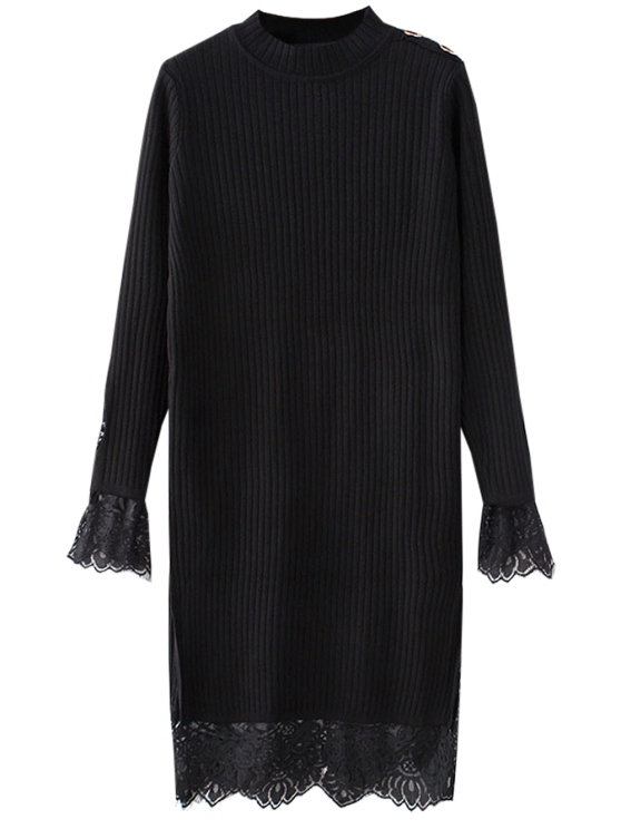 ladies Lace Panel Cut Out Knitting Dress - BLACK ONE SIZE