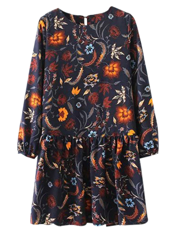 Floral Long Sleeve Drop Waist Dress - PURPLISH BLUE L Mobile