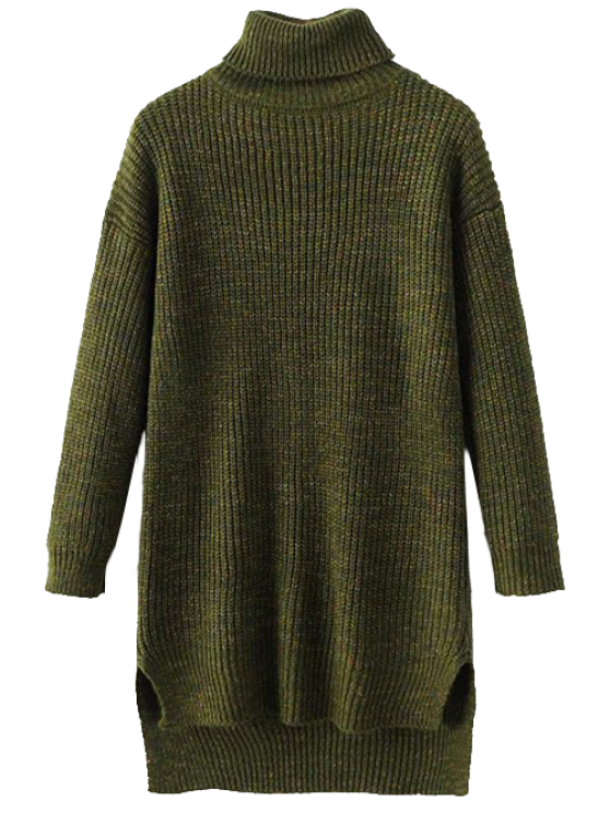 Side Slit Turtleneck Heather Sweater - ARMY GREEN ONE SIZE Mobile