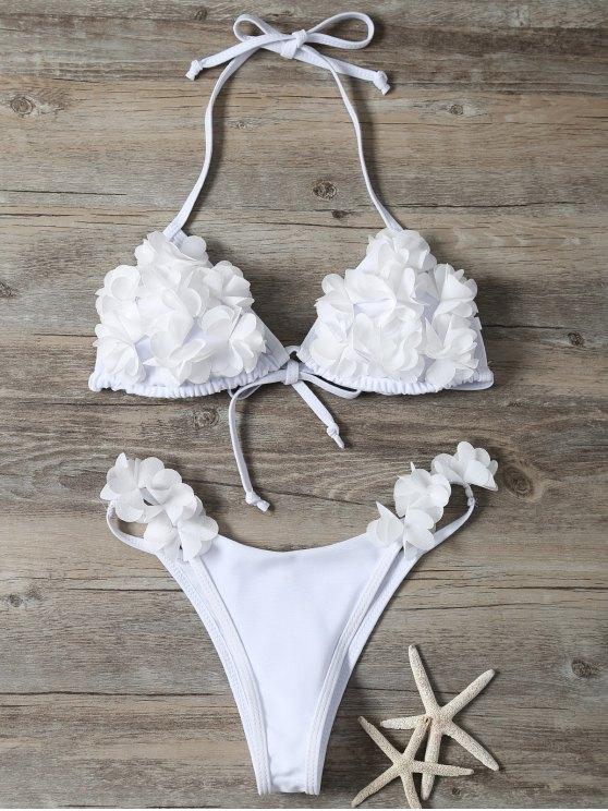 Stereo Flower Bikini Swimwear - WHITE L Mobile