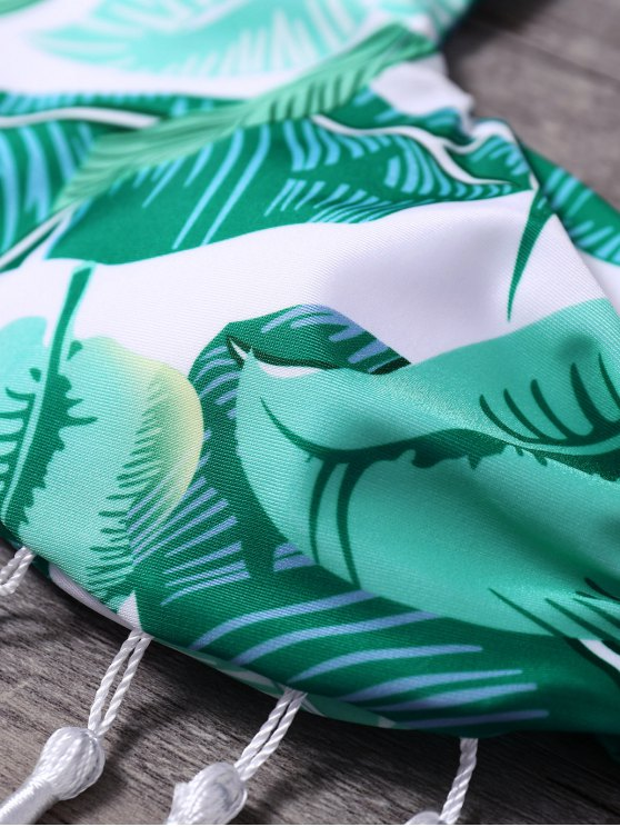 Halter Palm Leaf Tasselled Bikini - GREEN S Mobile