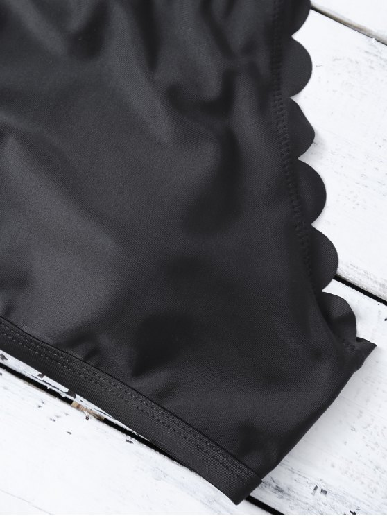 High Neck Scalloped Bikini - BLACK L Mobile