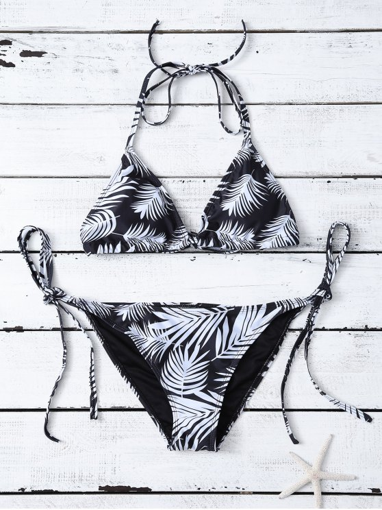 Feather Print String Bikini - WHITE AND BLACK M Mobile