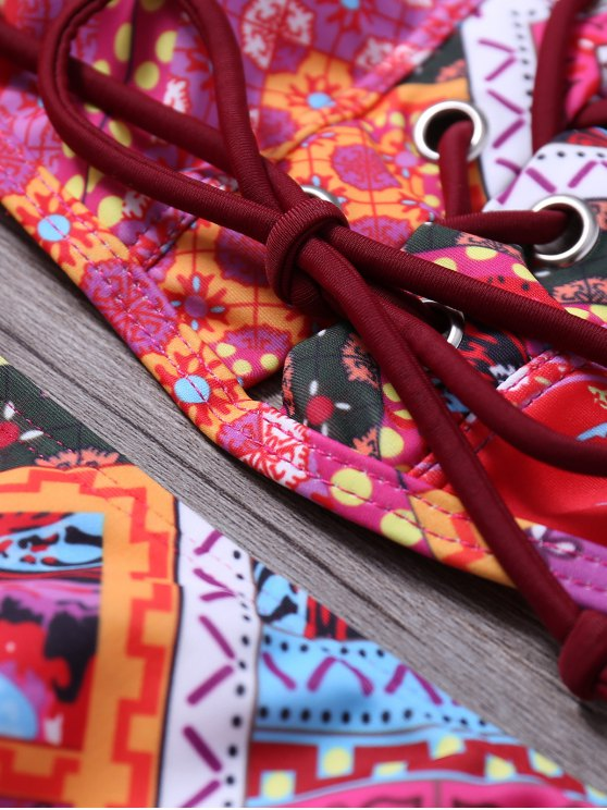 Lace Up Tribal Print Bikini Set - COLORMIX S Mobile