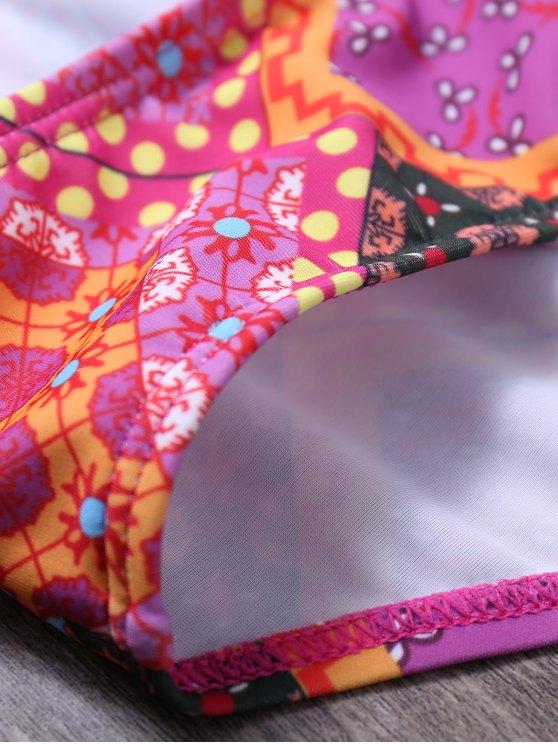 Lace Up Tribal Print Bikini Set - COLORMIX L Mobile