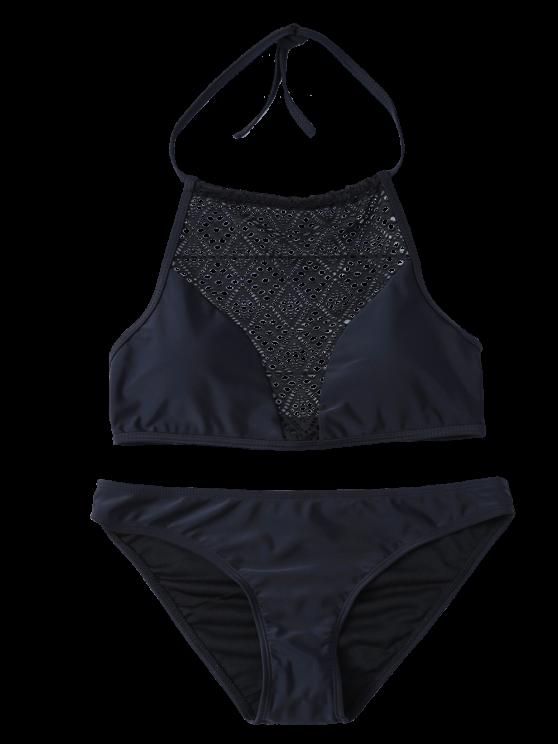 Lace Panel Cut Out Bikini Set - BLACK S Mobile