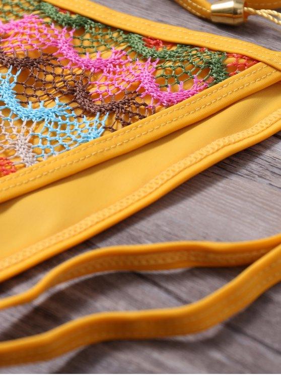 Strappy Tassel Crochet Panel Bikini Set - GINGER S Mobile