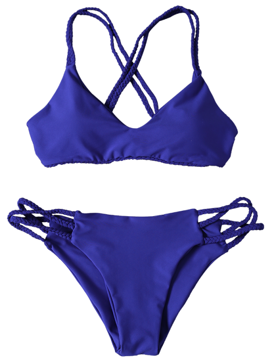 Crisscross Braided Strap Thong Bikini - BLUE M Mobile
