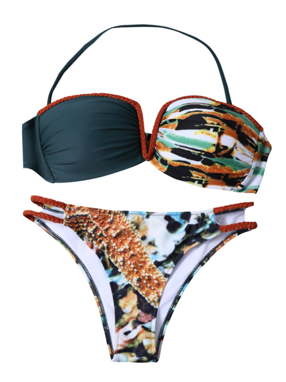 Printed Braid Bandeau Bikini Set - COLORMIX L Mobile