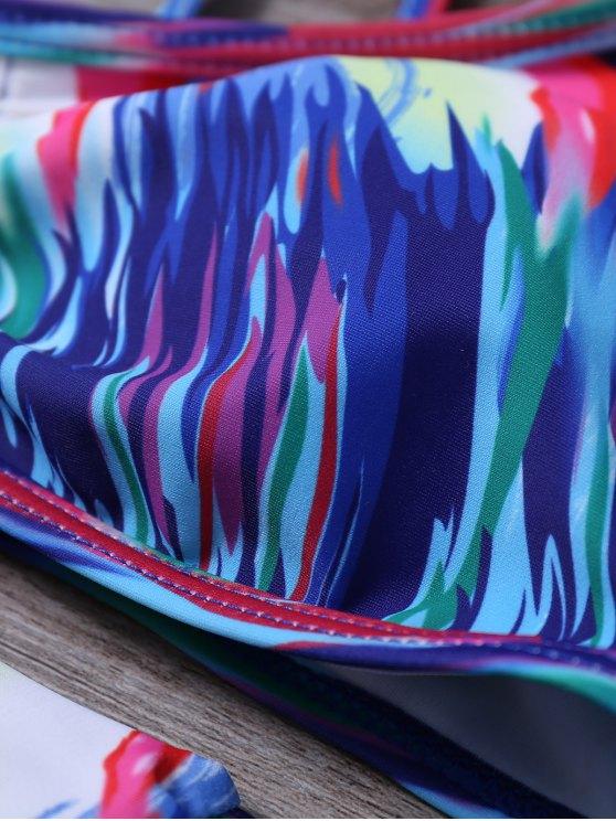 Oil Painting Strappy Bikini Set - COLORMIX L Mobile