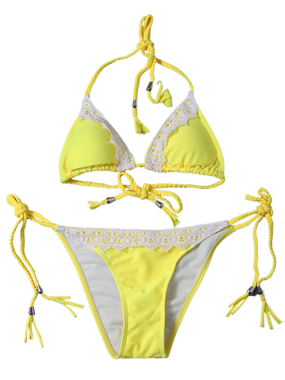 Lace Panel Side Tie Rope Bikini Set - YELLOW S Mobile