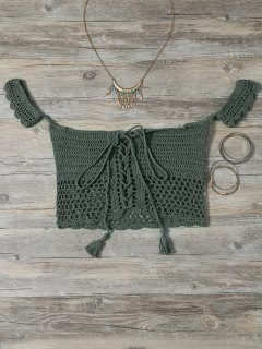 Knitted Off The Shoulder Bikini Bra - Green