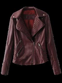 Zippered Lapel Collar Biker Jacket - Dark Red M