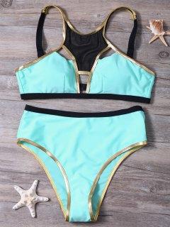 Piped Hollow Out Bikini Set - Pinkish Blue S