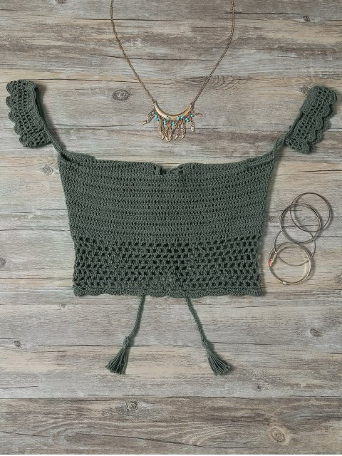 affordable Knitted Off The Shoulder Bikini Bra - GREEN ONE SIZE Mobile