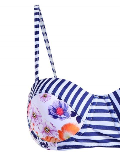 buy Floral Cute High Waist Cami Bikini Set - BLUE AND WHITE XL Mobile