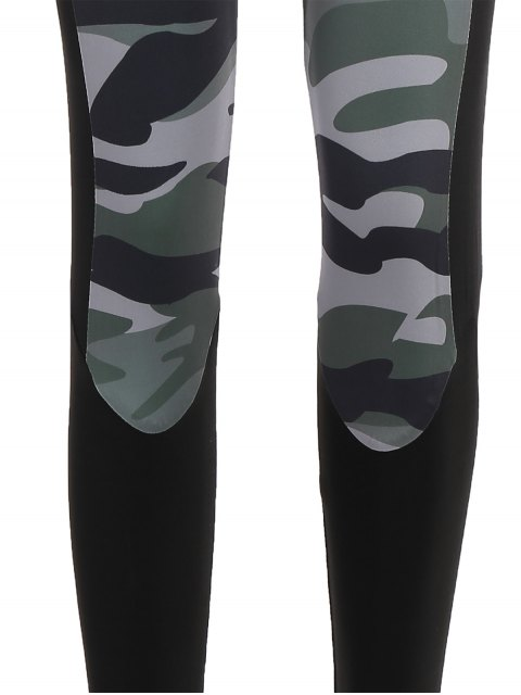 womens Camo Print Insert Gym Leggings - CAMOUFLAGE M Mobile