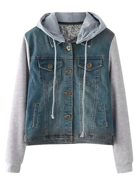 lady Buttoned Hooded Denim Spliced Jacket - BLUE M Mobile