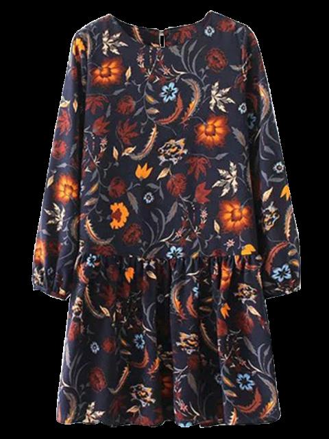 outfit Floral Long Sleeve Drop Waist Dress - PURPLISH BLUE S Mobile